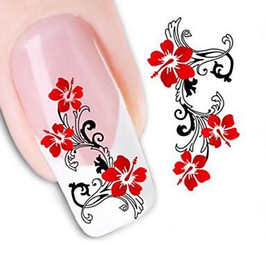 1 pcs 3D Tırnak Çıkartması Su Transferi Sticker tırnak sanatı Manikür pedikür Çiçek / Düğün / Moda Günlük / 3D Çivi Çıkartmaları