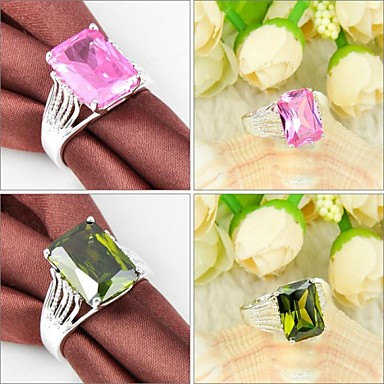 newet peridot rosa kunzite gemstone anel de prata 1pc estilo elegante