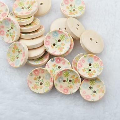 botones de madera diy de la flor de dibujo del libro de recuerdos Scraft coser (10 piezas)