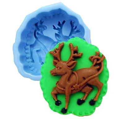 alces dos cervos do Natal fondant ferramentas bolo de chocolate bolo de silicone molde de decoração, l10cm * w8.5cm * h4cm