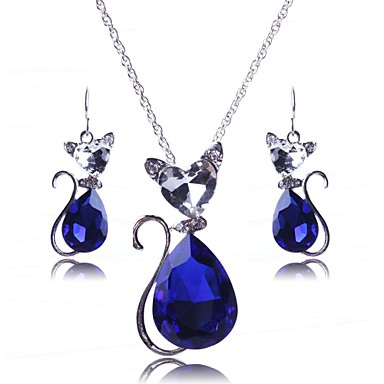 Γυναικεία Κρυστάλλινο Κοσμήματα Σετ - Κρύσταλλο Ευρωπαϊκό, Μοντέρνα Περιλαμβάνω Μαύρο / Κόκκινο / Μπλε Για Πάρτι / Ειδική Περίσταση / Επέτειος / Cercei / Κολιέ
