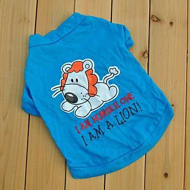 Pisici Câine Tricou Îmbrăcăminte Câini Desene Animate Albastru Bumbac Costume Pentru animale de companie Bărbați Pentru femei Draguț