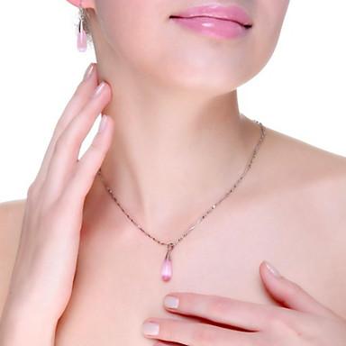 billige Mode Halskæde-Dame Halskædevedhæng Sølv Opal Dråbe Damer Mode Elegant Hvid Lys pink Halskæder Smykker Til Bryllup Fest Daglig Afslappet