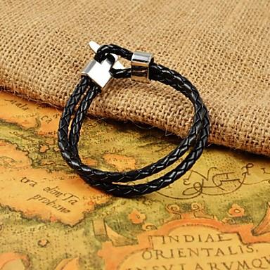 pulseiras de couro tecer preto da forma dos homens