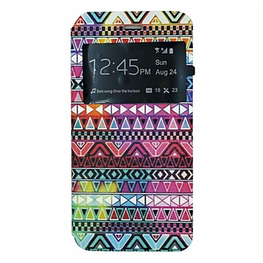 Colorful Folk Style Pattern PU Leather Open Window Full Body Case for iPhone 6