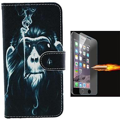 caso de corpo inteiro orangotangos projeto pu couro com película de vidro à prova de explosão para iphone 6 mais