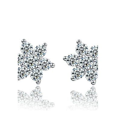 Γυναικεία Κουμπωτά Σκουλαρίκια Πολυτέλεια Ασήμι Στερλίνας Προσομειωμένο διαμάντι Νιφάδα χιονιού Κοσμήματα Χρώμα Οθόνης Κοστούμια Κοσμήματα