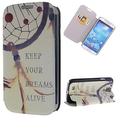 manter padrão dream catcher couro pu caso de corpo inteiro com suporte e slot para cartão para Samsung Galaxy i9500 s4