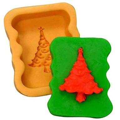 Χριστούγεννα εργαλεία διακόσμηση δέντρο φοντάν κέικ σοκολάτας κέικ μούχλα σιλικόνης, l8.3 * w6.8 * h3cm