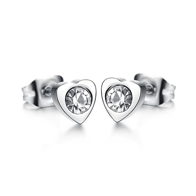 Oorknopjes Hart Zirkonia Titanium Staal Hartvorm Sieraden Voor Bruiloft Feest Dagelijks Causaal