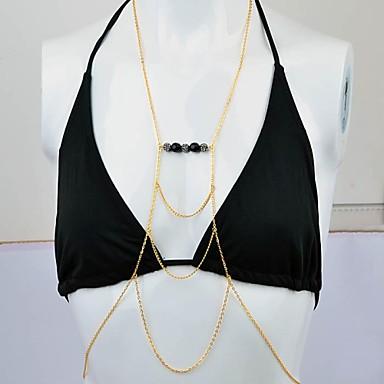femei noi lanț de metal de moda corp colier lung multi- culoare șirag de mărgele