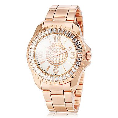 Mulheres Simulado Diamante Relógio Relógio Casual Quartzo imitação de diamante Rosa Folheado a Ouro Aço Inoxidável Banda BrilhanteOuro