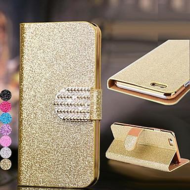 Capinha Para Apple iPhone 6 iPhone 6 Plus Porta-Cartão Com Strass Com Suporte Flip Capa Proteção Completa Glitter Brilhante Rígida PU