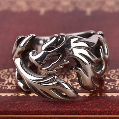 Ανδρικά Ανοξείδωτο Ατσάλι Δαχτυλίδι Band Ring - Δράκος Εξατομικευόμενο Βίντατζ Καθημερινό Ευρωπαϊκό Ασημί Δαχτυλίδι Για Δώρο