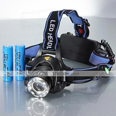 Stirnlampen Radlichter Schweinwerfer LED 1200 lm 5 Modus Cree XM-L T6 inklusive Batterien Zoomable- einstellbarer Fokus Stoßfest