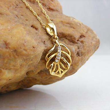 Kadın's Kolye Uçları - Altın Kaplama Leaf Shape Temel, Moda, Zarif Kolye Altın Uyumluluk Günlük / Randevu