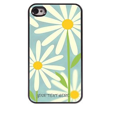 caso de telefone personalizado - branco caso flor design de metal para iPhone 4 / 4S