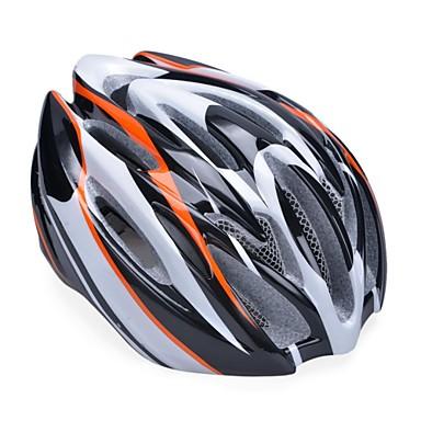 unisex mode en hoge ademende pc + EPP fiets helm met afneembare zonneklep (19 ventilatieopeningen) - oranje + zwart + zilver