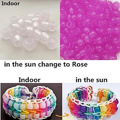 ca. 100pcs erhöhte UV-Farbwechsel 6x8mm Pony Perlen Regenbogen Farbe Webstuhl Gummibänder Armband DIY Zubehör