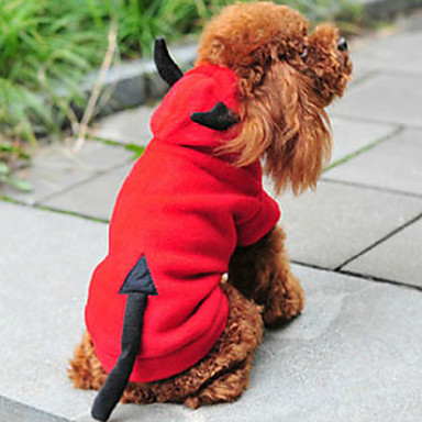 Cat Dog Costume Hoodie Dog Clothes Cute Christmas New Year's Angel & Devil Red Costume For Pets