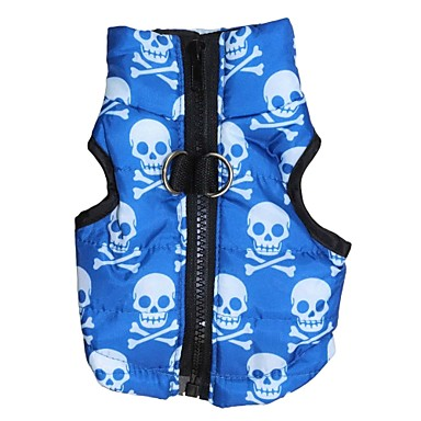 cheap Dog Clothing & Accessories-Cat Dog Coat Vest Dog Clothes Skull Blue Terylene Costume For Spring &  Fall Winter Men's Women's Keep Warm