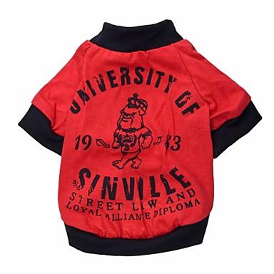 Kat Hond T-shirt Hondenkleding Rood Katoen Kostuum Voor Lente & Herfst