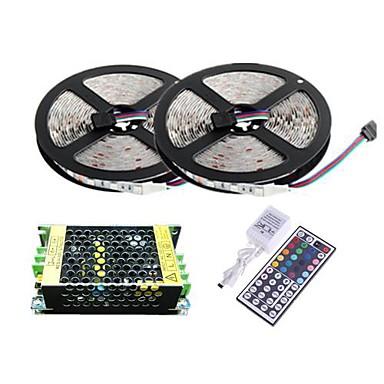 10m Flexible LED-Leuchtstreifen / Lichtsets / Leuchtbänder RGB LEDs 3528 SMD RGB Fernbedienungskontrolle / Schneidbar / Abblendbar 100-240 V / Verbindbar / Selbstklebend / Farbwechsel