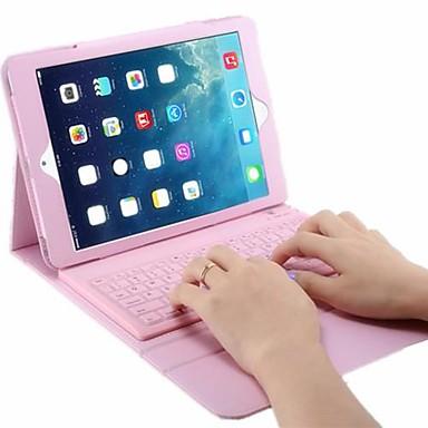 Capinha Para iPad Air 2 iPad Air Com Suporte Com Teclado Flip Capa Proteção Completa Côr Sólida Rígida PU Leather para
