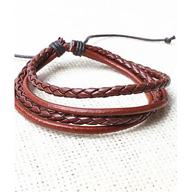 voordelige Heren Armband-Heren Lederen armbanden geweven Vintage Modieus Leder Armband sieraden Zwart / Koffie / zwart / wit Voor Feest Dagelijks Causaal