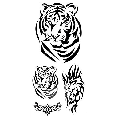 1pc 3D Tiger Badge Waterproof Tattoo Pattern Temporary Tattoo Sticker for Body Art(18.5cm*8.5cm)