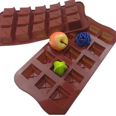 15 buracos moldes praça bolo forma de gelo geléia de chocolate, silicone 21 × 10,5 × 2,5 centímetros (8,3 × 4,1 × 1.0inch)