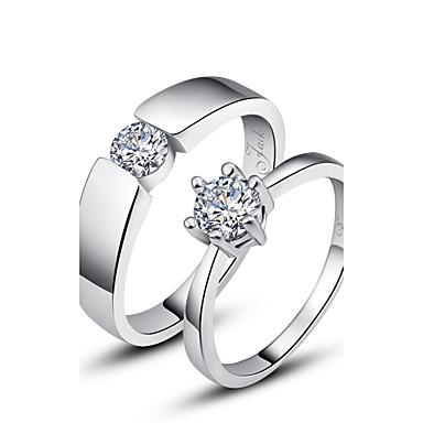 εξατομικευμένο δώρο απλή 925 ασημένια δαχτυλίδια ζευγάρια