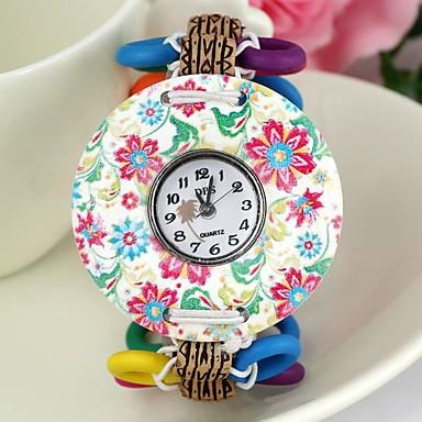 pentru Doamne Ceas Brățară Ceas Lemn Quartz Lemn Bandă Vintage Flori Multicolor
