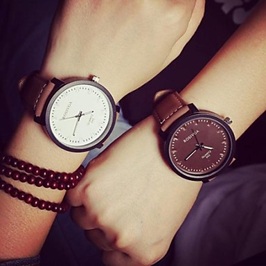 cheap Women's Watches-Couple's Wrist Watch Quartz Matching His And Her Leather Black / Brown Casual Watch Analog Ladies Casual Fashion - Black Brown White / Black One Year Battery Life / SSUO 377