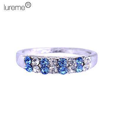 anillo de aleación lureme®silver plateada de doble hilera de circón (colores surtidos)