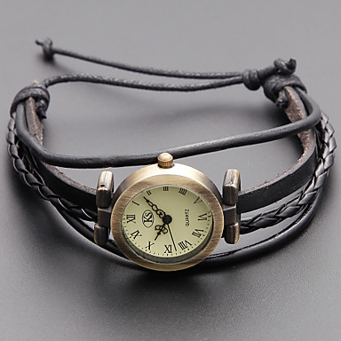 Women's Quartz Bracelet Watch Japanese Casual Watch Genuine Leather Band Vintage / Bohemian / Fashion Black / Khaki