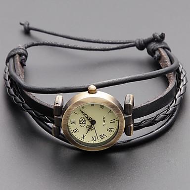 preiswerte Damen Uhren-Damen damas Uhr Armband-Uhr Uhr wickeln Japanisch Quartz Echtes Leder Schwarz / Khaki Armbanduhren für den Alltag Analog Retro Böhmische Modisch Schwarz Khaki / Ein Jahr / Ein Jahr / SSUO SR626SW