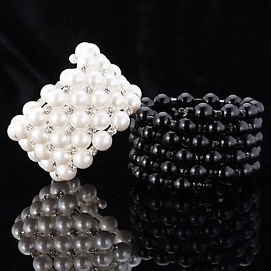 Damen Perle Glasperlen Ketten- & Glieder-Armbänder Bettelarmbänder Armreife - Perle, Künstliche Perle, Strass Freunde Armbänder Weiß / Schwarz Für Hochzeit Party Alltag / Strang-Armbänder