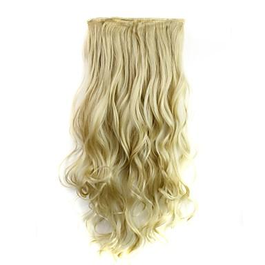 Gerçek Saç Postişleri Bukle Klasik Ek saç Klips İçeri / Dışarı Sarışın Günlük