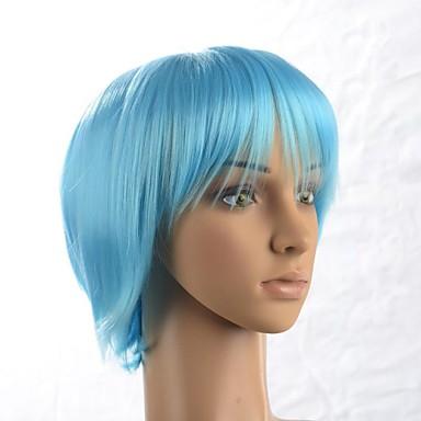 120% Human Hair Dichte Synthetische Haare Blau Perücke Party