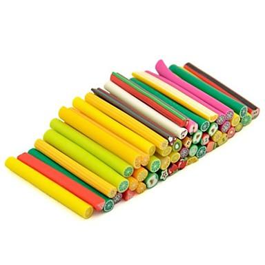Padrão 50pcs frutas 3d vara de cana vara etiqueta mixs cor nail art decoração