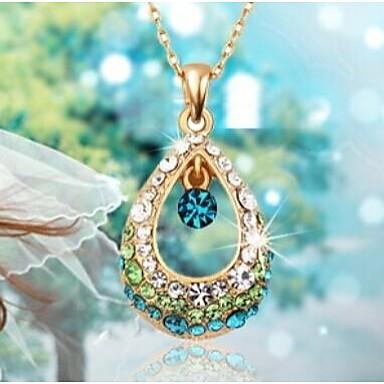 Kadın's Kristal Uçlu Kolyeler - Yapay Elmas Damla Moda Beyaz, Fuşya, Mavi Kolyeler Mücevher Uyumluluk Düğün, Parti, Günlük