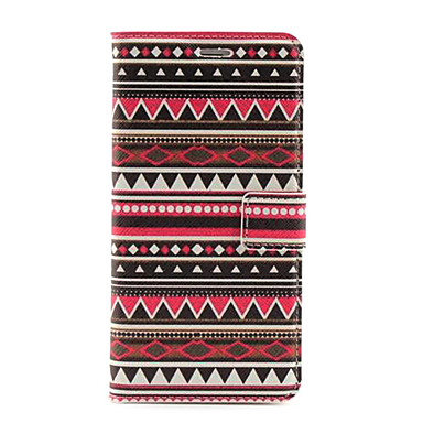 Colorful Stripe Pattern PU Leather Case with Stand and Card Slot for iPhone 6 Plus