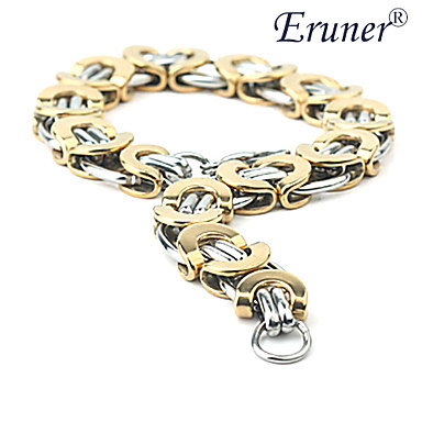 Eruner®Fashionable Flattened Golden Titanium Steel Bracelet