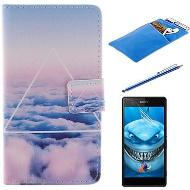 o caso de corpo inteiro projeto céu nuvens pu couro com stylus, película protetora e bolsa macia para Sony Xperia m2