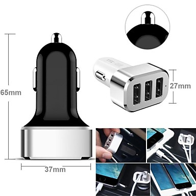 Araba Şarj Aleti USB Şarj Aleti Çoklu Bağlantı Noktası 3 USB Bağlantı Noktası 2.1 A / 2 A / 1 A DC 12V-24V için