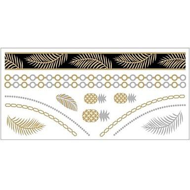 Séries de Jóias Tatuagem Adesiva - Estampado - para Feminino/Girl/Adulto/Adolescente - de Papel - Dourada - #(20x10) #(1)