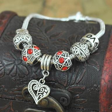 1PCS Fashion National Wind  Carved Beads Silver Heart Bracelet