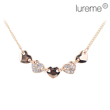 lureme®gold banhado cinco corações de cristal liga colar