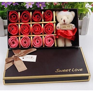 Valentijnsdag geschenk romantische 12st liefde rozen zeep bloemen met een beer